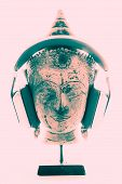 Spiritual Music Therapy. Contemporary Image Of Buddha Head With Modern Headphones Representing Relig poster
