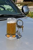 Drinking and Driving concept. DUI Concept. Beer Mug with Beer, Hand Cuffs and Car Keys. Driving whil poster