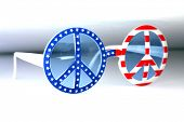 USA Flag Peace Sign Sun Glasses. Peace Sign Fashion Sunglasses. Isolated on white. Room for text.  poster
