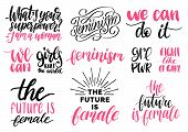 Girls Rule The World, Grl Pwr Etc, Hand Lettering Prints Set. Vector Calligraphic Collection Of Femi poster