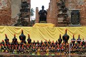 stock photo of roster  - Rosters and ruins of temple in Wat Thummikarat Ayutthaya Thailand - JPG