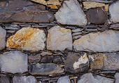 Masonry Walls Of Different Layered Stones. Stone Background. poster