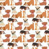 Puppy Seamless Pattern Background Vector Illustration Cute Dogs Characters Funny Purebred Puppy Dogg poster