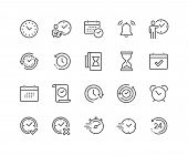 Simple Set Of Time Related Vector Line Icons. Contains Such Icons As Time Inspection, Log, Calendar  poster
