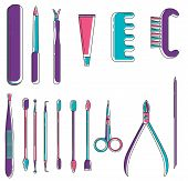 Set Of Linear Colored Manicure Objects. Flat Icons Of Scissors, Nail File, Clipper, Polish, Brush, C poster