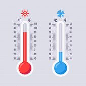 Flat Thermometers. Hot And Cold Mercury Thermometer Control With Accuracy Meteorology Fahrenheit And poster