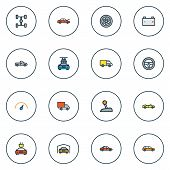Automobile Icons Colored Line Set With Station Wagon, Pickup, Sedan And Other Machine  Elements. Iso poster