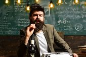 Man With Beard On Thinking Face. Bearded Man With Retro Typewriter And Microscope. Scientist Make Re poster