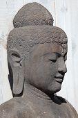image of siddhartha  - Portrait of the black buddha statue in Thailand - JPG