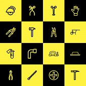 Set Of 16 Editable Instrument Icons Line Style. Includes Symbols Such As Hammer, Drill Nozzle, Rivet poster