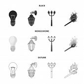 Led Light, Street Lamp, Match.light Source Set Collection Icons In Black, Monochrome, Outline Style  poster