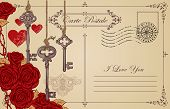 Retro Postcard On The Theme Of Declaration Of Love With Keys, Keyhole, Red Hearts And Roses. Romanti poster