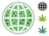 Internet Composition Of Weed Leaves In Variable Sizes And Green Tints. Vector Flat Weed Objects Are  poster