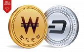 Dash. Won. 3d Isometric Physical Coins. Digital Currency. Korea Won Coin. Cryptocurrency. Golden And poster