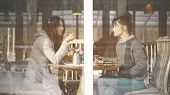 Two Casual Cute Female Friends Smiling Having A Serious Talk On A Sunny Day Met In A Cafe To Talk An poster