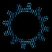 Halftone Cogwheel Mosaic Icon Of Circle Bubbles In Blue Color Hues On A Black Background. Vector Cir poster