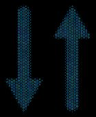 Halftone Exchange Arrows Mosaic Icon Of Spheres In Blue Color Tinges On A Black Background. Vector R poster