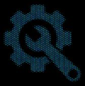 Halftone Gear And Wrench Mosaic Icon Of Spheres In Blue Color Tones On A Black Background. Vector Bu poster