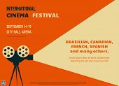 Retro Style International Movie Festival Poster Template. Orange Background And Black Colors. Film F poster