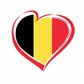Постер, плакат: Love Belgium Emblem With Heart In National Flag Color National Holiday In Belgium 4 October 1830 Ve