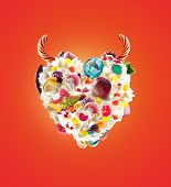 Devil Heart Milk Shake With Sweets And Whipped Cream, Front View. Sweet Concept With Whipped Cream A poster
