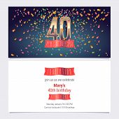 40 Years Anniversary Invitation Vector Illustration. Graphic Design Template With Golden Number For  poster
