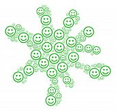 Blot Figure Formed From Glad Smiley Items In Various Sizes. Abstract Vector Splatter Illustration. G poster