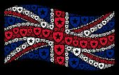 Waving British Flag On A Black Background. Vector Guard Icons Are Grouped Into Geometric British Fla poster