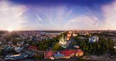 A Big Panorama In High Resolution Of The City Of Kiev On Podol At Sunset. poster