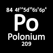 Periodic Table Element Polonium Icon On White Background. Vector Illustration. poster