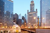 Skyline Of Buildings At Downtown Chicago At Dusk, Illinois, Usa poster