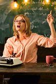 Idea. Woman Teacher Has And Idea. Good Idea Comes At Work poster