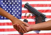 2nd amendment love. a couple holds hands with an American flag and hand gun background. Second Amend poster