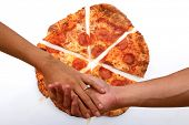 Man and Woman hold hands with pizza background. I love you more than pizza. Romance and love stronge poster