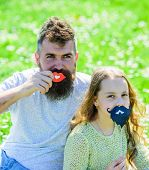 Father Posing With Lips And Child Posing With Beard Photo Booth Attribute. Gender Roles Concept. Fam poster