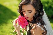 Feminine Tenderness. Girl With Fashionable Makeup In Earring. Wedding Holiday Celebration. Bride Wit poster