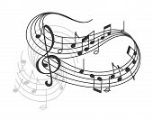 Music Poster Of Musical Staff Or Music Stave Notes And Clef. Vector Design Of Musical Notes On Staff poster