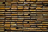 Wooden Planks. Beams. Air-drying Timber Stack. Wood Air Drying (seasoning Lumber Or Wood Seasoning). poster