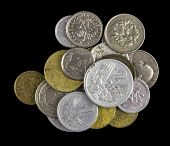 A Handful Of Coins From Different Denominations And From Different Countries, Golden And Silver Colo poster