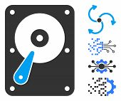 Hard Disk Icon. Illustration Contains Vector Flat Hard Disk Pictogram Isolated On A White Background poster