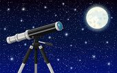 Observation Through Spyglass. Nature Landscape With Telescope, Moon And Stars. Astronomy, Research,  poster