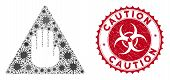 Coronavirus Mosaic Caution Icon And Rounded Grunge Stamp Seal With Caution Caption. Mosaic Vector Is poster
