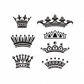 Royal Crown Silhouette. King Crowns, Majestic Coronet And Luxury Tiara Silhouettes. Royal Queens Cro poster