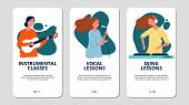 Music School Web Banners. Vocal, Instrumental And Dj Courses. Girls Sing And Play Guitar Vector Flye poster
