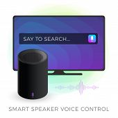 Smart Speaker Tv Voice Control Concept Illustration. Ai (artificial Intelligence) Personal Assistant poster