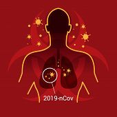 2019-ncov Corona Virus Concept With Virus Enters The Lungs Human On Red Biohazard Virus Sign Backgro poster