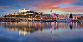 Sunset In Bratislava With Danube River, Slovakia poster