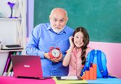 Little Girl Man Tutor Study. Time To Study. Beginning Of Lesson. Study Online Lesson. Pedagogue Frie poster