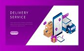 Isometric Logistics And Delivery Service Landing Page Concept. Delivery Home And Office. Delivery Tr poster