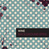 Wine rings on vintage tableclotch. Abstract restaurant background. Vector, EPS10.